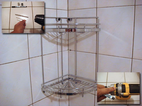 Installation 2-tier Corner Stainless Steel Bathroom Shelf