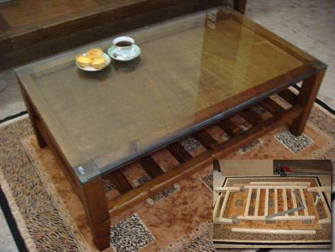glass top pine showcase coffee table 展示櫃咖啡桌客廳桌